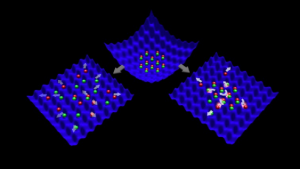 Cold atoms caught in an optical lattice trap.